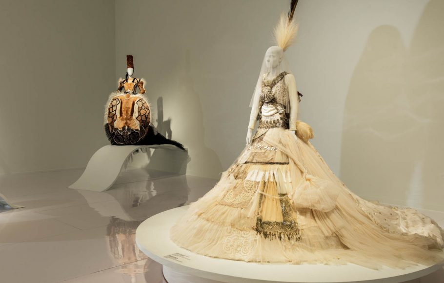View of the exhibition Love Is Love: Wedding Bliss for All à la Jean Paul Gaultier, the Montreal Museum of Fine Arts, 2017. Photo Denis Farley
